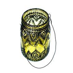 Hand Painted Mason Jar Lantern Lemon Tinted Glass with by LITdecor, $28.00