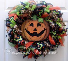 Pumpkin Halloween Deco Mesh Wreath  by PerpetualTreasures2 on Etsy