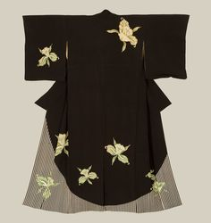 An unusual antique silk kimono that combines both modern and traditional design elements, featuring bold green narcissuses and bold striping. Patterning technique seems to be yuzen-dyeing.   Meiji Period (1868-1911), Japan.  The Kimono Gallery