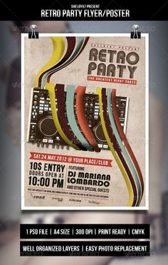 Retro Party Flyer/Poster — Photoshop PSD #weekly event #party • Available here → https://graphicriver.net/item/retro-party-flyerposter/3351315?ref=pxcr