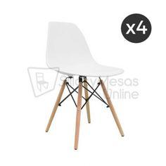 Lote de 4 sillas nórdicas inspiración Eames