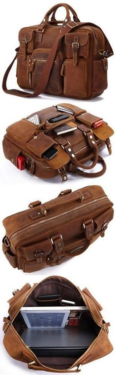 Image of Vintage Handmade Genuine Crazy Horse Leather Business Travel Bag /duffle Bag/luggage Bag(p01)