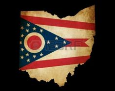 Picture of USA American Ohio state map outline with grunge effect flag insert stock photo, images and stock photography.