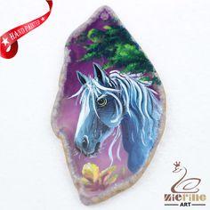 Hand Painted Horse Agate Slice Gemstone Necklace Pendant Jewlery D1706 0516 #ZL #Pendant