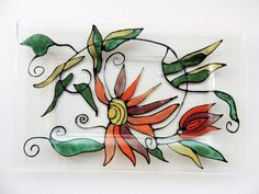 fused glass platehand painted plateglass by Homeforglasslovers, $40.00