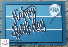 A Birthday card great for the men.  Cut 2 of the Happy Birthday Thinlits and off-set them it makes it POP!. Also using Happy Birthday Gorgeous stamp set. #happybirthdaygorgeous #masculinebirthday