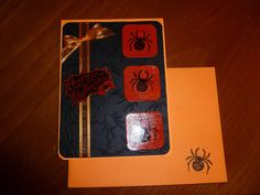 Handmade Halloween Card -Spiders and bows - Sets and Kits also available via Etsy