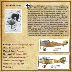 Name: friedrich hefty. Fighter Pilot, Fighter Aircraft, Biography Text, Plane And Pilot, First Knight, Pilot Training, Austro Hungarian, World War One, Military Aircraft