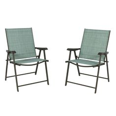 Set Of 2 Sling Back Folding Outdoor Patio Bistro Chairs Aqua
