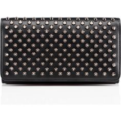 Christian Louboutin Macaron Spiked Flap Wallet ($625) ❤ liked on Polyvore featuring bags, wallets, black, christian louboutin, christian louboutin wallet, snap bag, flap wallet and 12 card wallet