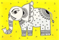 sized printed Madhubani Cards (This was designed by me) Design - Yellow Elephant Sold in packs of 5 The cards come with Red envelopes Indian Elephant, Elephant Art, Pottery Painting, Fabric Painting, Art Syllabus, Simple Canvas Paintings, Madhubani Art, Indian Folk Art, Indian Art Paintings