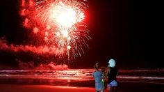 A family watch last year's fireworks display at Surfers Paradise for New Years