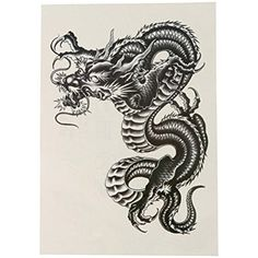 Large Black Dragon Temporary Tattoo Arm Tattoo Stickers For Men Women Henna Fake Flash Tattoo Stickers Body Art Accesories Fake Tattoos, Leg Tattoos, Body Art Tattoos, Japanese Dragon Tattoos, Japanese Tattoo Art, Dragon Tattoos For Men, Black Art Tattoo, Black Tattoos, Dragon Tattoo Sticker