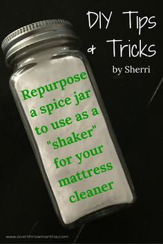 #DIY tip: It's so easy to #recycle and old spice jar to make into a bottle to use for a #mattress cleaner, dog duster, or carpet freshener.