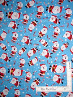 """Festive Father Christmas Santa 100/% Cotton Fabric Material BY HALF METRE  W 55"""""""