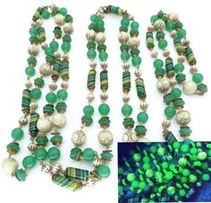 Vtg Art Deco Neiger Uranium Latticino Egyptian Revival Glass Bead Necklace