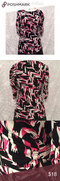 """MACY'S ALFANI BLOUSE IN FUN FABRIC! Super cute Macy's Alfani blouse! Fun, contemporary fabric design. Colors are black, pink, and white. Ruched on the side and sleeves for added cuteness! 3/4 length sleeves. Fabric is 95% polyester and 5% spandex. Measurements: chest-44"""", waist-38"""", bottom-42"""", length-28"""". Excellent used condition! Alfani Tops Blouses"""