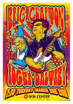 Eric Clapton Concert Poster Roger Daltrey Concert Poster Who Thom Self Poster Tour Posters, Band Posters, Recital, Blue Poster, Gig Poster, Vintage Concert Posters, Pochette Album, Eric Clapton, Graphic Design Posters