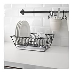 IKEA - FINTORP, Dish drainer, Can be hung on the wall or placed on the countertop.Removable tray underneath to collect water from the drainer.
