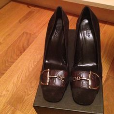100% Authentic Gucci Shoes - sale 100% authentic never worn Gucci women's shoes in size 6.5. Chocolate color with suede detail. Beautiful gucci print on leather. With original box. Purchased from Gucci store years ago. Paid $450 + tax. No trades/ no exchanges / no refunds. 🚫final price listed. 🚫 Gucci Shoes Heels