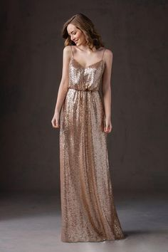 Spaghetti Straps Floor Length Maid of Honor Coffee Sequins Bridesmaid Dress - Uniqistic.com