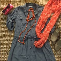 Chambray Shirt Dress Chambray shirt dress with side pockets and a drawstring waist.  Sleeves roll up and button to 3/4 length. Skirt has a double chambray layer. Purchased from Gap Fall 2012.  Worn two to three times.  Great used condition. GAP Dresses Long Sleeve