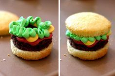 """Courtney & I had fun making these - - Little """"hamburgers"""" made from cupcakes (bun), brownies (burger meat), colored frosting (lettuce, mustard & ketchup)! Cute Food, Good Food, Yummy Food, Brownie Cupcakes, Cupcake Cookies, Oreo Truffles, Köstliche Desserts, Delicious Desserts, Cookies"""