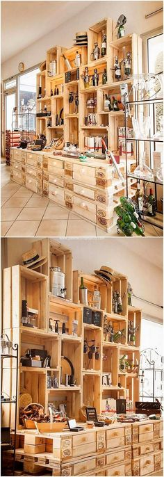 Bring home this modern designed recycling of the wood pallet that is so ordinary designed out in stylish versions. This shelving unit has been underneath set with the miniature coverage where you can add up your important storage wine bottles or other decoration accessories.