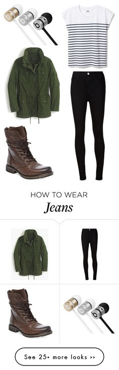"""""""Untitled #11599"""" by aavagian on Polyvore featuring Beats by Dr. Dre, J.Crew, AG Adriano Goldschmied and Steve Madden"""