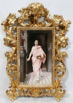 "042120: K.P.M. HAND PAINTED PORCELAIN PLAQUE 13"" X 8"", : Lot 42120"
