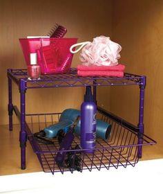 Under Cabinet Storage Racks Purple Height Adjustable Organizer Kitchen Bathroom #UnderCabinetStorage