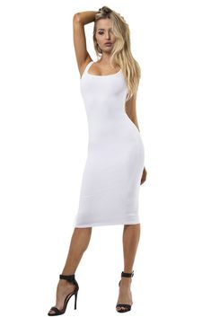 9c28d2d57cf8 The mystylemode ivory essential double lined tank midi dress