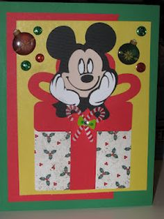 "Mickey Christmas card made with Cricut ""Mickey and Friends"" cartridge. Cricut Mickey and Minnie (christmas cards for kids friends) Disney Christmas Cards, Custom Christmas Cards, Disney Cards, Mickey Christmas, Christmas Cards To Make, Holiday Cards, Christmas Ideas, Xmas, Christmas Scrapbook Layouts"