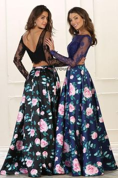 Two piece floral dress & prom dress May queen 1511