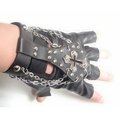 Black Leather Studded Gothic Punk Biker Tipless Chain Gloves for Men SKU-71102144