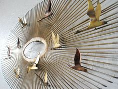Curtis Jere Brass Starburst Wall Sculpture Flying Birds 1970s , Eames Era Metal Wall Sculpture