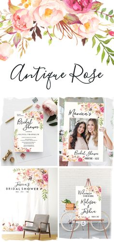 """Our """"Antique Rose"""" bridal shower theme has everything you need to celebrate your bride to be. And we mean everything! See below for our Welcome Sign, Invitations, Photo Prop, Printable Games, Decor and party supplies."""