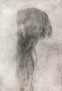 famous drawing gustav klimt hair