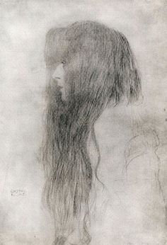 famous drawing gustav klimt hair