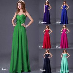 2013 Long New Chiffon Bridesmaid Evening Formal Party Ball Gown Prom Dresses. Lace-up back. Ball Dresses, Bridal Dresses, Ball Gowns, Bridesmaid Dresses, Bridesmaids, Prom Dresses, Beaded Chiffon, Chiffon Dress, Formal Prom