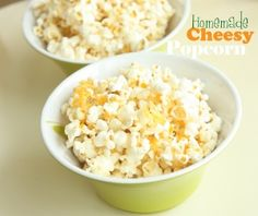 Homemade Cheesy Crunch Popcorn - love that these are all natural ingredients!