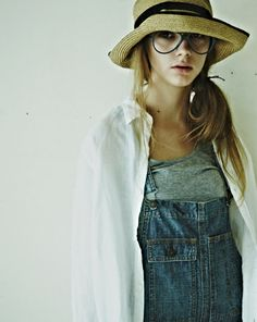 hat, overalls, white shirt - love this