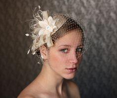 BIRDCAGE VEIL vintage style wedding headdress. Champagne , nude wedding hat,bridal hat. Amazing fascinator, hair flower, crystals, feathers.