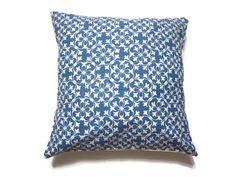 blue and and white decorative pillows | Decorative Pillow Cover Denim Blue White Damask Toss Throw Accent 16 ...