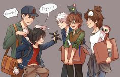 Jack frost, guy, and tadashi and hiro, hiccup & toothless