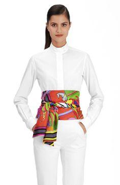 Hermes silk maxi twilly, x Diy Corset, Work Fashion, Diy Fashion, Womens Fashion, Fashion Tips, Fashion Design, Cinto Obi, Ways To Wear A Scarf, Vogue Fashion