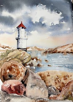Karin | Sunday Watercolor: Lighthouse For more info: I share my creative projects here: https://www.instagram.com/peppermintpatty42/ and on my blog: http://peppermintpattys-papercraft.blogspot.se and on pinterest; https://www.pinterest.se/peppermint42/my-watercolors/