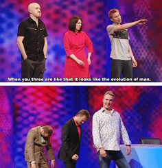 Mock The Week: Russell Howard and the evolution of man Tumblr Funny, Funny Memes, Hilarious, Funny Blogs, Jokes, Funny Shit, British Memes, British Comedy, Mock Of The Week