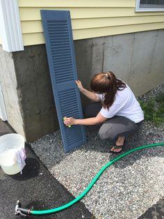 Good looking barn door shutters Paint Vinyl Shutters, Blue Vinyl Siding, Exterior Vinyl Shutters, Painting Shutters, House Shutters, Vinyl Doors, Diy Shutters, Exterior Doors, Black Shutters