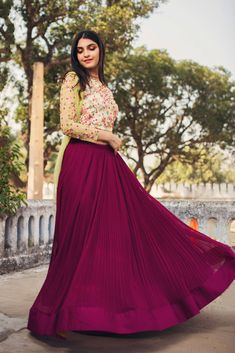 When you dance to your own rhythm life taps it's toes to your beat.Issa contemporary crop top lehenga in floral green and plum ruching.They can customize the dress as per your requirement. For more details WhatsApp on 9949944178 or mail at info@issastudio.com 06 March 2018
